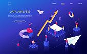 Data analysis - modern colorful isometric vector web banner