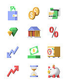 Business and finance - modern realistic 3d icons set