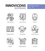 Electrician services - line design style icons set