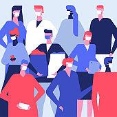 People in face masks - flat design style illustration