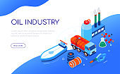 Oil industry - modern colorful isometric web banner