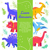 Learn dinosaurs - flat design style web banner