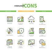 Development - modern line design style icons set