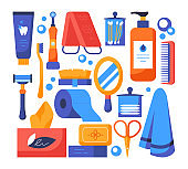 Personal hygiene - set of flat design style elements