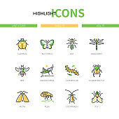 Insects collection - modern line design style icons set