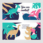 Cute dinosaurs - flat design style web banners