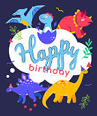 Happy birthday - flat design style illustration with characters