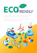 Eco friendly - modern colorful isometric web banner