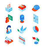 Election and voting - modern colorful isometric icons set
