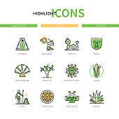 Aztec civilization - modern line design style icons set