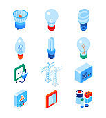 Electrical supplies - modern colorful isometric icons set