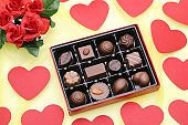 Box of chocolate with heart for Valentine's day