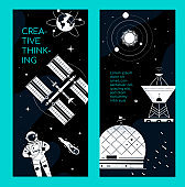 Space theme - set of modern vertical banners