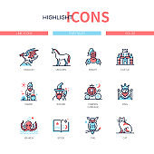 Fairytales concept - line design style icons set