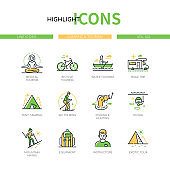 Camping and tourism - modern line design style icons set