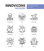 Halloween symbols - modern line design style icons set