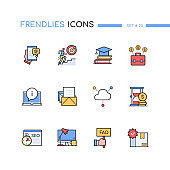Career and development - modern line design style icons set