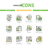 Project development - modern line design style icons set