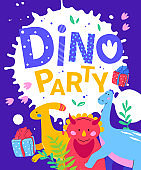 Dino party - flat design style illustration with characters