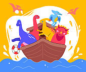 Dinosaurs on a boat - flat design style illustration