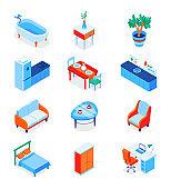 Home interior elements - modern isometric icons set