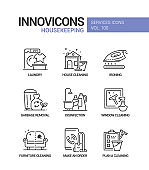 Housekeeping services - vector line design style icons set