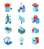 Waste sorting - modern colorful isometric icons set