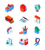Back to school - modern colorful isometric icons set
