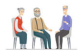 Senior people talking - flat design style illustration
