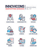 Babysitting services - vector line design style icons set