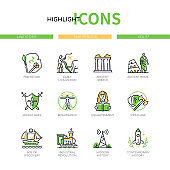 Time periods - line design style icons set