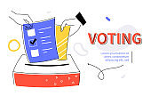 Voting - modern colorful flat design style web banner