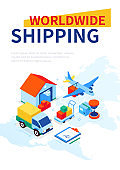 Worldwide shipping - modern colorful isometric web banner