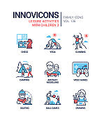 Leisure activities for children - line design style icons set