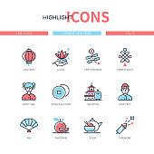 Chinese New Year - line design style icons set