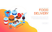 Food delivery - modern colorful isometric web banner