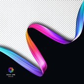 Vector Template Background with Colorful Paint Brush Stroke. Bright Concept for Flyers, Posters and Banners