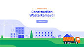 A Large Truck Takes Out Construction Debris. Vector Illustration in Flat Style. Banner with Industrial Construction