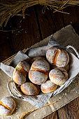 Homemade wheat rolls for breakfast