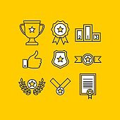 Awards Minimalist Colorful Icons. Premium Vector Set of Prizes and Trophy Signs.