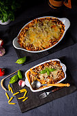 noodle , minced meat casserole with cheese
