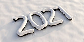 2021 new year, number covered with snow, snowy background. 3d illustration