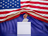 US elections. USA flag and ballot box on blue background. 3d illustration