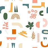 Vector abstract seamless pattern with hand drawn cut out colorful shapes and objects. Modern trendy illustration . Geometric background in pastel colors with simple abstractions.
