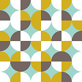 Geometric vector seamless pattern. Modern background with simple shapes in pastel colors.