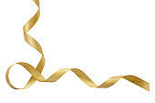 Gold satin ribbon isolated cutout on white background