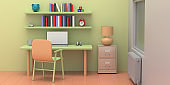 Student desk, chair and shelves with books and toys in a pastel colors child room. 3d illustration