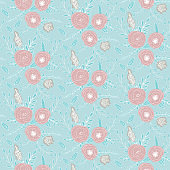 Floral vector seamless pattern with  flowers and leaves.