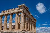 Athens, Greece. Parthenon temple on Acropolis hill, bright spring day.