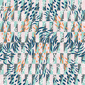 Vector  seamless abstract background with floral and geometric shapes in pastel colors.